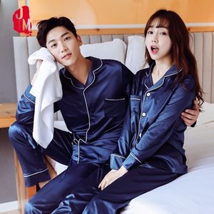Silk Men Pajama Sets Maniche lunghe Sleepwear Uomini Suit Casual Pigiama Pigiama uomo solido Set di seta estate Seta Spia come Abbigliamento da notte LJ201113