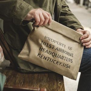 Maden Uomo Vintage Borse Olio militare Wax Canvas Handbag Khaki Casual Busta di stampa Retro Capacità Borsa