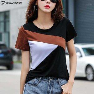 Foxmertor Casual T Shirt Femmina 2020 Estate manica corta Patchwork Tee Shirt Plus Size T Donna Tops Camisetas Mujer Verano1