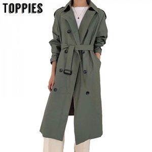 Toppies Trench Coat Spring Women Double Brasted Windbreaker Korean Woman Long Coat Streetwear 201028