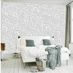 Modern and simple 3D three-dimensional flower wallpapers European background wall decoration painting 3d murals wallpaper for living room