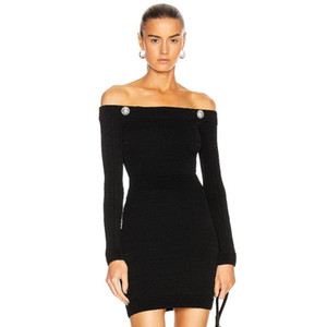 Adyce 2020 New Autumn Women Club Off Shoulder Mini Bandage Dress Sexy Long Sleeve Buttons Celebrity Evening Runway Party Dresses
