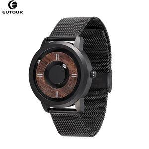 2020 Eutour Magnetic Drive Relojes para hombre de la marca Top Marca de lujo Reloj de cuarzo Mujeres Hombre Madera Acero inoxidable Unisex Wristwatches LJ201202