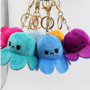 Reversible Flip Octopus Keychains Stuffed Doll Soft Simulation Reversible Plush Toy Color Chapter Plush Doll Filled Plush Child Toy