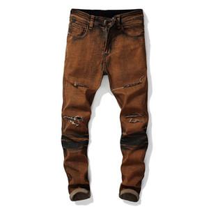 Mens Fashion Jeans Vintage Hot Vente Printemps et Automnes New Style Ripped élastique Denim Pantalon Homme Taille Plus droite
