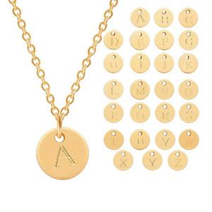 26 Buchstaben Anfang Halskette Silber Gold Farbe Scheibe Halskette Alphabet Frauen Kolye Collier Freunde Familie Brief Halskette Schmuck 49 m2