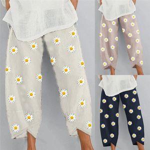 Women Casual Harem Pants Summer Elastic Waist Wide Leg Pants Floral Printed Trousers Female Loose Pantalon Plus Size
