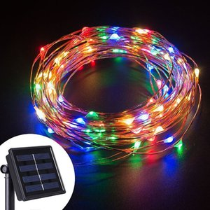 8 mode 10m 20m LED Solar garden String Light silver Copper wire Fairy Solar Powered for Christmas home party outdoor decor light 201023