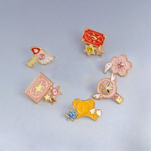 New 6pcs set Captor Sakura Clow Card Wings Star Stick Bird Kero Brooch Jacket Badge Animation