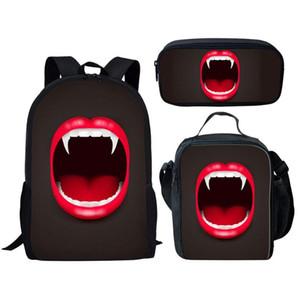 3шт Детская школа сумка Набор для мальчиков для девочек тинейджеров рюкзаки Детские книги Сумки зомби зубы ранцы рюкзак Mochila INFANTIL