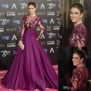 Zuhair Murad Red Carpet Evening Dresses Long Sleeve Beads sexy lace Applique Sheer Illusion Bodice Prom Gowns custom made Party Dresses