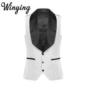Men's Casual Patchwork Suit Vest Business Jacket Lapel Sleeveless Single Breasted Slim Waistcoat for Graduation Ceremony Wedding