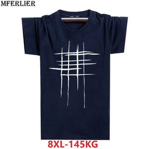 Mferlier Men Summer 5xl Casual Black Tshirt Cotton Plus Size Big 7xl 8xl Short Sleeve T-shirts Geometry Fashion Creativity Tees Y200930
