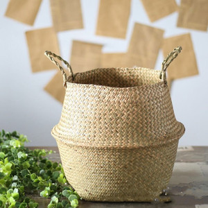Gardening Laundry Basket Seaweed Weave Flowerpot Home Furnishing Decoration Big Belly Plant Pots Europe And America 15ay F2