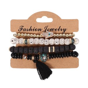 4pcs Lot Bohemian Vintage Bodhi beads chains Bracelets Set For Women Hand of Fatima Tassel charm Wristband Fashion Jewelry Gift 166 O2