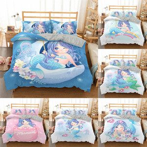 Homesky Mermaid Bedding Set for Kids Baby Child Boy Girl 3D Cartoon Cute Duvet Cover Set Twin Full Bed Linen Set Bedspreads 1012