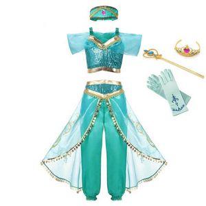 MUABABY Yaz Kız Giydirme Arap Prensesi Giydirme Kostüm Çocuk Kolsuz Pullu Giyim yukarı Kid Parti Fantezi