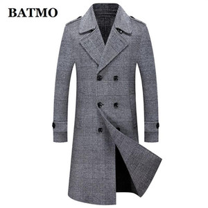 BATMO 2020 new arrvial high quality 80% wool Double Breasted plaid long trench coat men,jackets 007