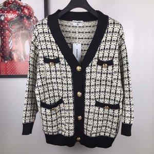 2020 Gilet européen et de la mode américaine industrie du design d'origine lourd or soie col V robe pull classique tout-match livraison gratuite