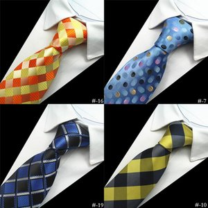 Neck Ties GUSLESON Design Quality 100% Silk Mens Tie 8cm Plaid&Striped For Men Classic Wear Business Wedding Party Gravatas