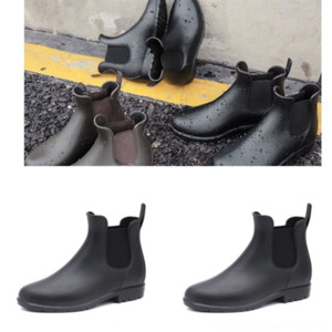 OR96p Monolith pouch boots. Rois leather Rain Boots booties. Removable nylon Adult zipper thick cardy boot sole Slip nylon derby boots