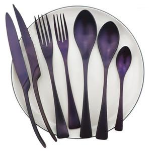 Restaurante Roxo Reusável Dinnaria Conjunto de Alta Qualidade Metal Tailware Set De Aço Inoxidável Cozinha De Cozinha Faca De Tableware Forquilha Spoon1