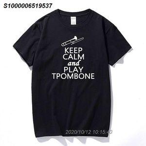 Shirts Keep Calm And Play Trombone Music Lover DT-Erwachsen-T-Shirt T-Mode-T-Shirt Männer Kleidung 35191210