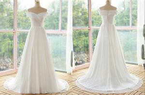 Vintage V neck Off Shoulder Wedding Dresses 2021 Capped Short Sleeves A line Lace Bodice Cheap Wedding Bridal Gowns Vestido De Novia