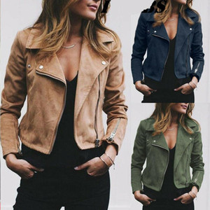 Plus Size Womens Ladies Suede Giacca in pelle pelle scamosciata Cappotto in volo Zip Up Biker Top