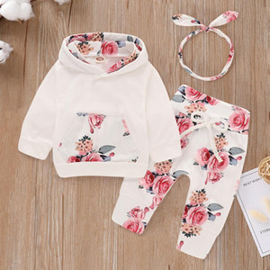 New Kids Clothes Children Hoodies+floral Pants 2pcs Girls Long Sleeve Sports Suit Autumn Winter Baby Warm Jogging Costume