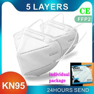 KN95 FFP2 alimentation en usine masque emballage de détail 95% Filtre masque réutilisable 5 couche design anti-poussière masque facial mascherina mascarilla top vente