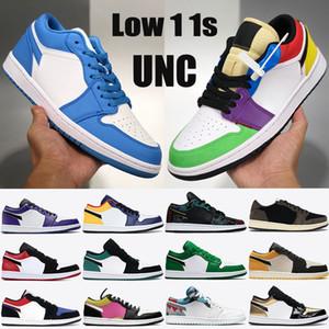 1 chaussures de basket-ball bas de Jumpman gris voile noir OG SP Travis Scotts N7 orteil noir UNC des femmes triple hommes noirs formateurs
