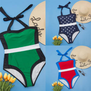 DTB TwoHalter Swimsuit Women Swimwear Female swim Bathing board Female Ribbed short wear Suit Swim Lady Bandage Strappy Bather Bather