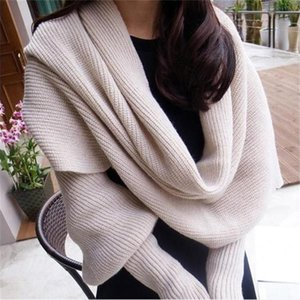 SupSindy European style Winter women long scarf with sleeves wool knitted scarves for women Thick Warm Casual Shawl High quality 201006