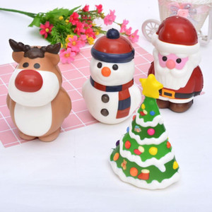 Kawaii Christmas Squishy Toy Santa Claus Snowman Xmas Tree Shaped Slow Rising Cream Scented Stress Relief Toy Novelty Gift Decor LX3783