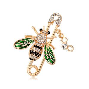 Crystal Fashion abelha broche de ouro segurança abelha pin corsage fivela cachecol vestido de terno broches mulheres homens moda jóias vontade e dom de areia