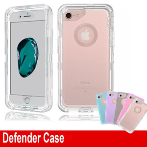 New Clear Defender Case Shockproof Heavy Duty Transparent Phone Protector Armor Cover for iPhone 12 11 pro XR XS Max 6 7 8 Plus No Belt Clip
