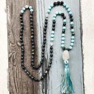 Geknotet Mala Ketten 108 Prayer Raw Q-uartz Halskette Schwarz Labradorit Blue Stone Perlenkette Quaste Heilstein Schmuck