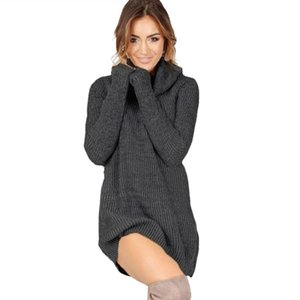 Long Sleeve Turtleneck Knitted Casual Mini Sweater Dress Women Autumn Winter Loose Warm Woman dresses Long Tops Plus Size 201030