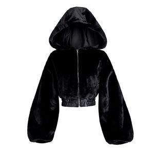 Rosetic Winter Faux Fur Jacket Women Short Coat Warmness Fashion Gothic Casual Black Jackets Hooded Outwear Oversize Coats 201021