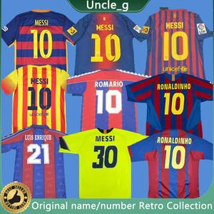 Rétro Messi Soccer Jerseys Ronaldinho Henry A Iniesta Ronaldo Kluivert Stoichkov Koieman Xavi Pique Football Vintage Chemises Classic 11 12 13