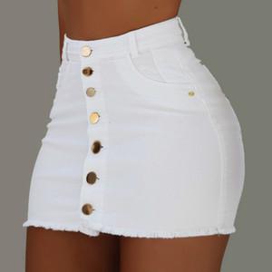 Women Button Denim Jeans Bodycon Mini Skirts Strench High Waist Sexy Club Skirt Summer