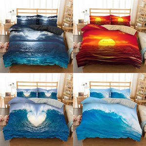 Bedding Sets Boniu 3D Wave Ocean Scenic Set Blue Quilt Cover With Pillowcase Comforter Microfiber Bedspreads Queen King Size
