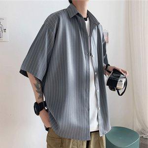 2021 جميل الذكور روفيان قميص سوف نرى هونج كونج عارضة نمط فضفاضة تناسب العمودي مخطط قصيرة الكورية قميص-S ZO9A