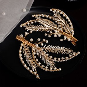 Zircon Hair Clip Korean Jewelry Wedding Bridal Cubic Zirconia Hair Accessories Gold Leaf Headpiece Party Prom Headdress Ornament Princess