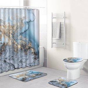 Marble Texture Printed Cross-Border Hot Selling Bathroom Non-Slip Floor Mat Shower Curtain Combination Carpet European and American Style Gr