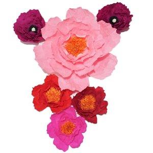 2020 Dev Krep Kağıt Yapay Çiçekler 6PCS Düğün Olay Dekor Bebek Hemşirelik Windows Görüntü El yapımı El Sanatları Özel 20-50CM
