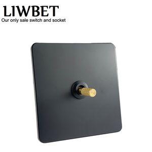 Liwet Black Color 1 Gangue Switch de parede de 2 vias e AC220 ~ 250V Interruptor de luz de aço inoxidável com toque de cobre T200605