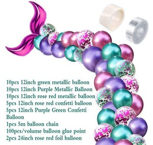 42pcs Balloon Arch Set Mermaid Tail Balloon Little Mermaid Party Decorations Supplies Wedding Girl Birthday wmtgkK xhlove