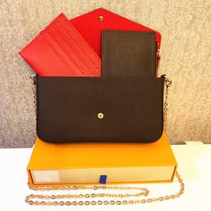 3 stücke / satz Favorite Multi Pochette Zubehör Frauen Crossbody Geldbörse Messenger Bags Handtaschen Blumen Designer Schulter Lady Leder mit Box